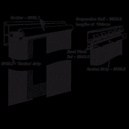 200mm Strips (6/7 strips per metre) White Holder - Black Mesh - £/Mtr