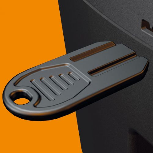 A new lock and key allows 'fiddle free' security especially when operating with gloves or in cold weather.
