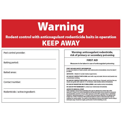 Rodenticide Warning Sign